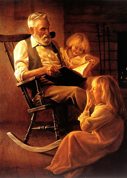 Storytime Greeting Card featuring the painting Bedtime Stories by Greg Olsen