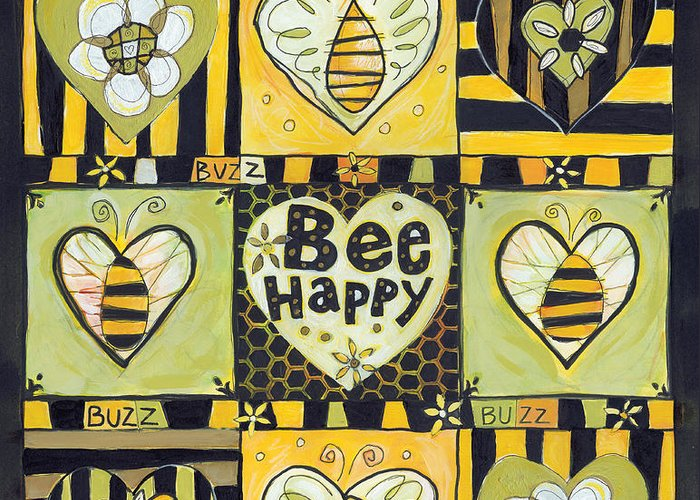 Bee Greeting Card featuring the painting Bee Happy by Jen Norton