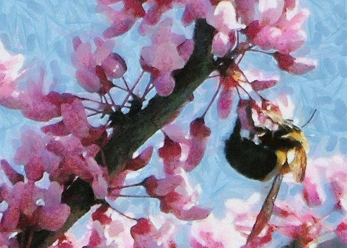 Bee Greeting Card featuring the painting Bee To The Blossom by Jeff Kolker