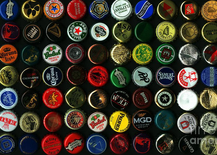 Kitsch Greeting Card featuring the photograph Beer Bottle Caps . 9 To 16 Proportion by Wingsdomain Art and Photography