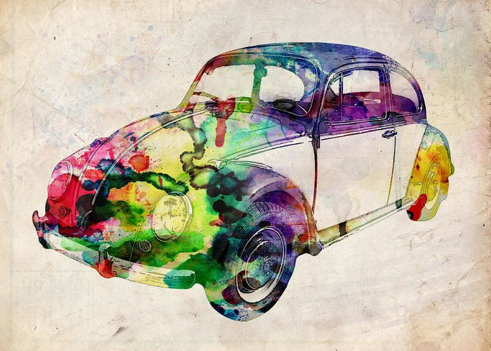 Vw Greeting Card featuring the digital art Beetle Urban Art by Michael Tompsett
