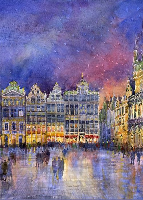 Watercolour Greeting Card featuring the painting Belgium Brussel Grand Place Grote Markt by Yuriy Shevchuk