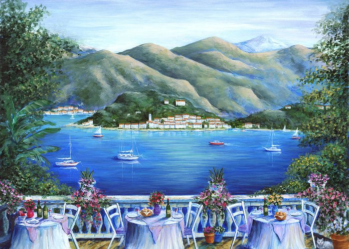 Bellagio Greeting Card featuring the painting Bellagio From The Cafe by Marilyn Dunlap