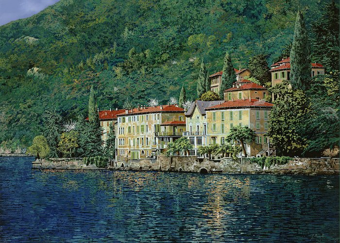 Landscape Greeting Card featuring the painting Bellano On Lake Como by Guido Borelli