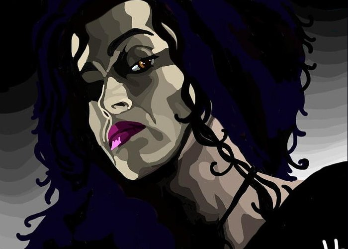 Harry Potter Greeting Card featuring the digital art Bellatrix by Lisa Leeman