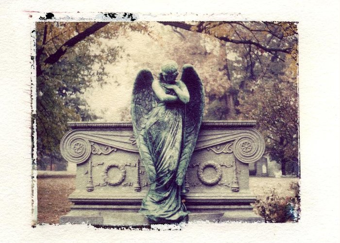Bellefontaine Angel Polaroid Transfer Greeting Card by Jane Linders