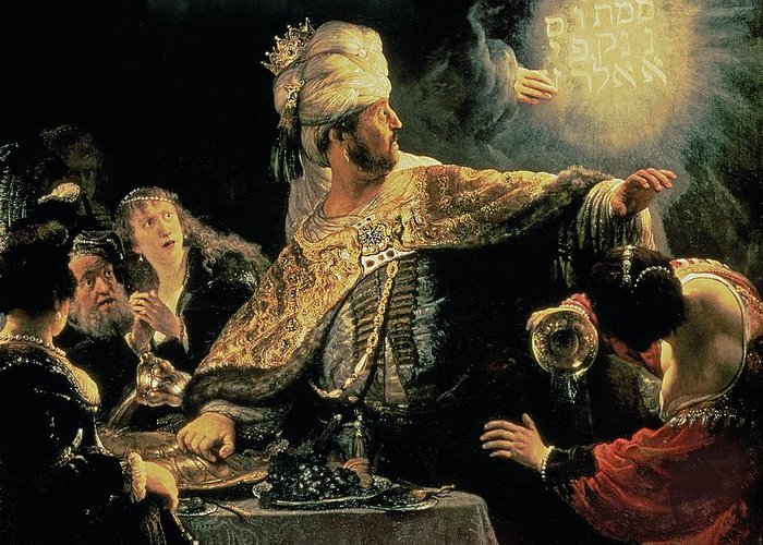 Belshazzar Greeting Card featuring the painting Belshazzars Feast by Rembrandt