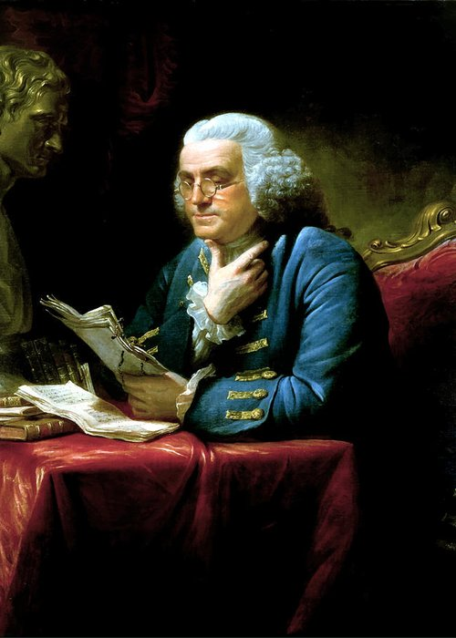 Benjamin Franklin Greeting Card featuring the painting Ben Franklin by War Is Hell Store