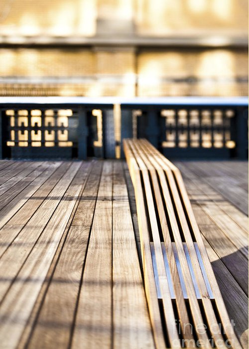 Architecture Greeting Card featuring the photograph Benches At The High Line Park by Eddy Joaquim