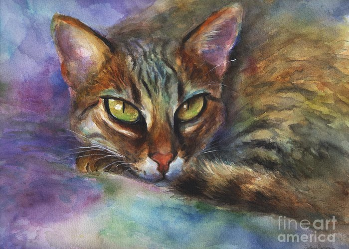 Bengal Cat Greeting Card featuring the painting Bengal Cat Watercolor Art Painting by Svetlana Novikova