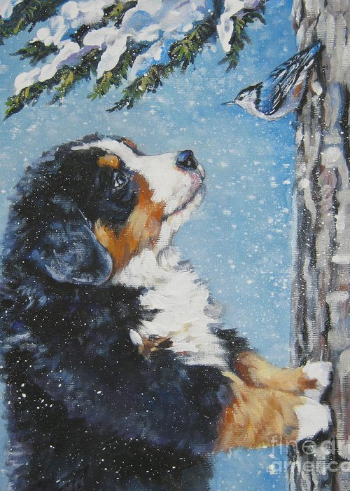 Bernese Mountain Dog Greeting Card featuring the painting bernese Mountain Dog puppy and nuthatch by Lee Ann Shepard