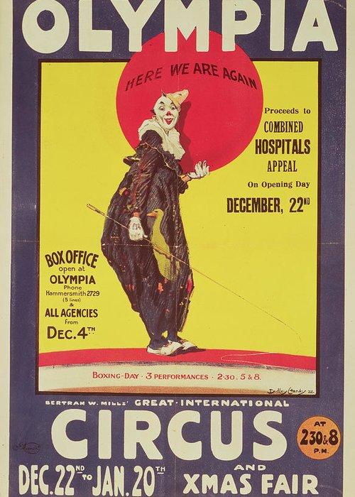 Bertram Mills Circus Poster Greeting Card featuring the painting Bertram Mills Circus Poster by Dudley Hardy