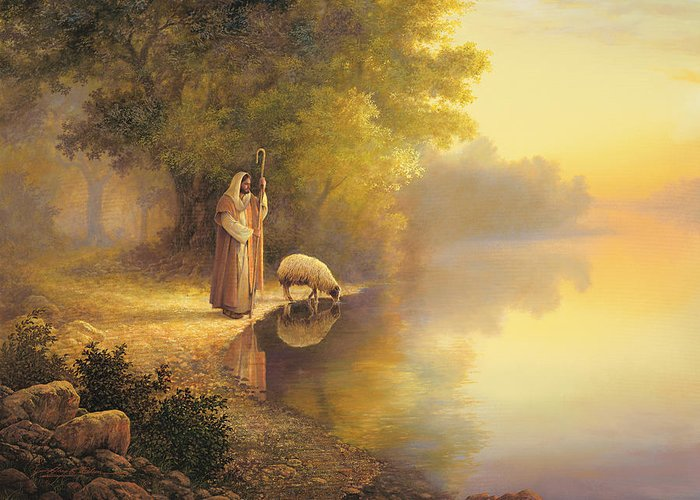 Jesus Greeting Card featuring the painting Beside Still Waters by Greg Olsen