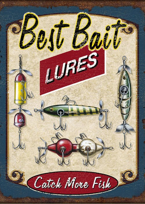 Jon Q Wright Greeting Card featuring the painting Best Bait Lures by JQ Licensing