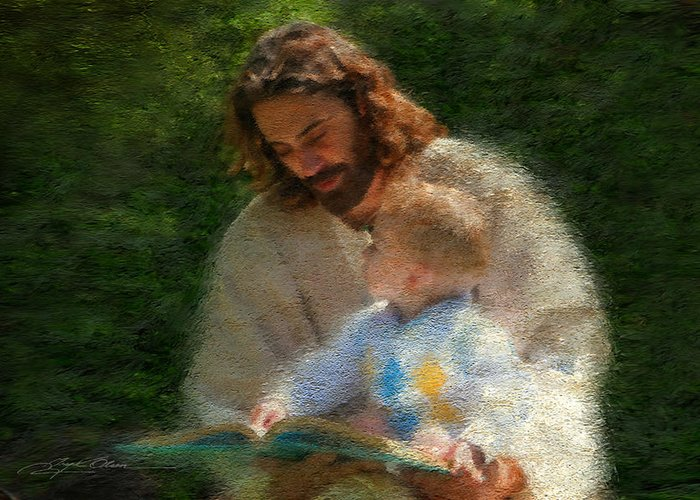 Jesus Greeting Card featuring the painting Bible Stories by Greg Olsen