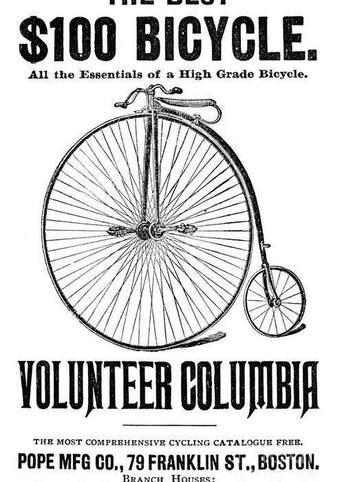 1880s Greeting Card featuring the photograph Bicycle Advertisement, 1888 by Granger