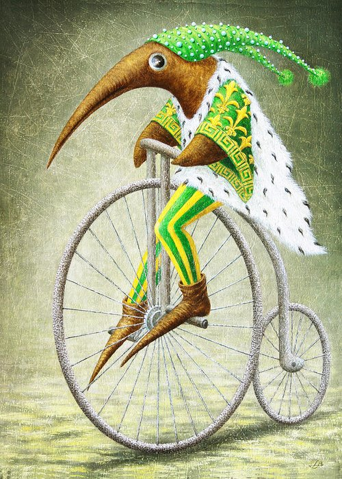 Bicycle Greeting Card featuring the painting Bicycle by Lolita Bronzini