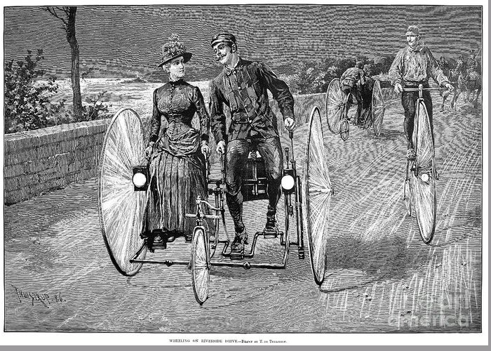 1886 Greeting Card featuring the photograph Bicycling, 1886 by Granger