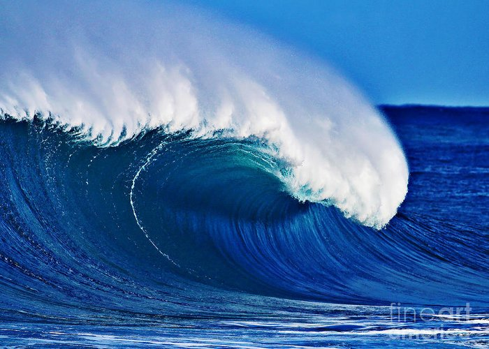 Backdoor Greeting Card featuring the photograph Big Blue Wave by Paul Topp
