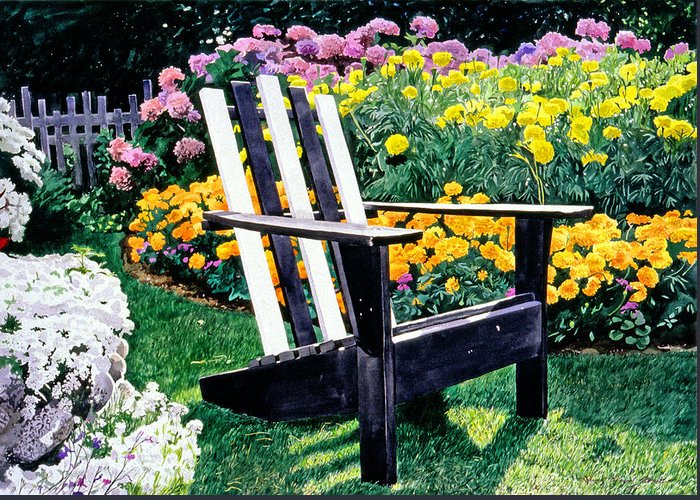 Adirondack Chairs Greeting Card featuring the painting Big Old Chair Evening Light by David Lloyd Glover