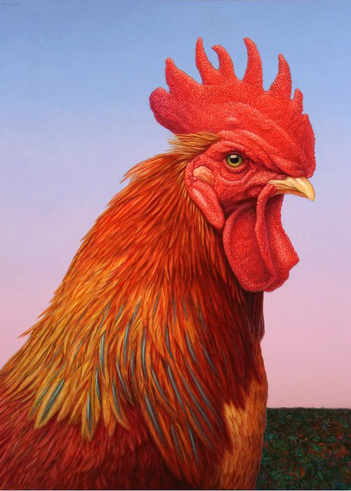 Rooster Greeting Card featuring the painting Big Red Rooster by James W Johnson