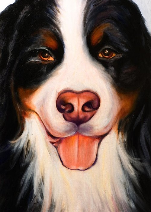 Dog Greeting Card featuring the painting Big Willie by Shannon Grissom