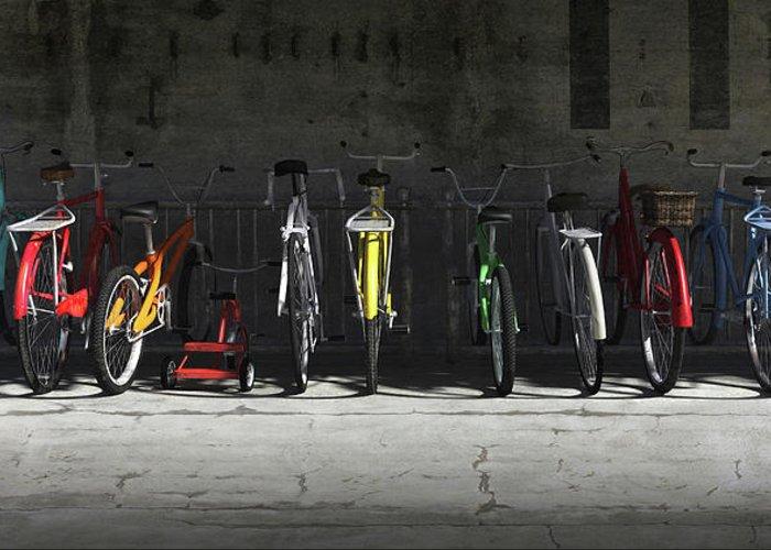 Bicycle Greeting Card featuring the digital art Bike Rack by Cynthia Decker