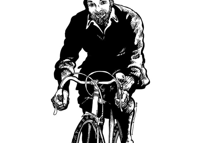 Drawing Greeting Card featuring the drawing Bike Rider by Karl Addison