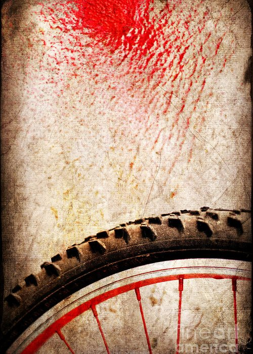Abstract Greeting Card featuring the photograph Bike Wheel Red Spray by Silvia Ganora