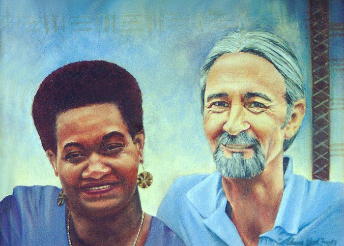 Portrait Greeting Card featuring the painting Bill And Ini by Sharon Ebert