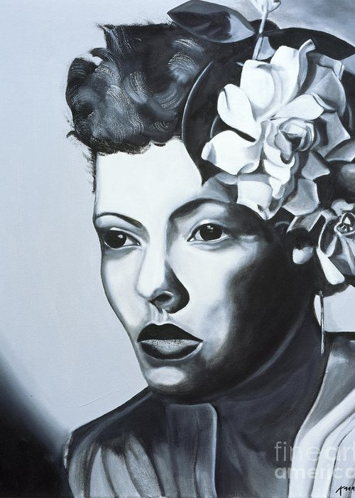 Billie Holiday (1915-59) (oil On Canvas) By Kaaria Mucherera (contemporary Artist) Greeting Card featuring the painting Billie Holiday by Kaaria Mucherera