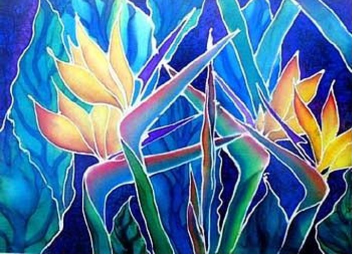 Silks Greeting Card featuring the painting Birds Of Paradise by Francine Dufour Jones