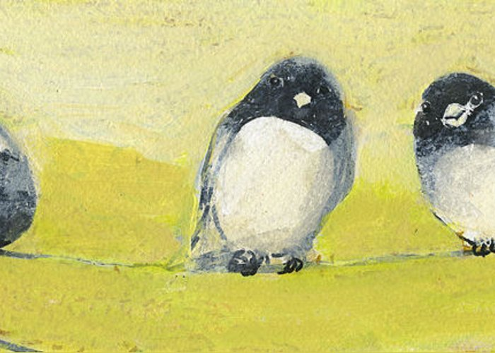 Bird Greeting Card featuring the painting Birds On A Wire by Jennifer Lommers