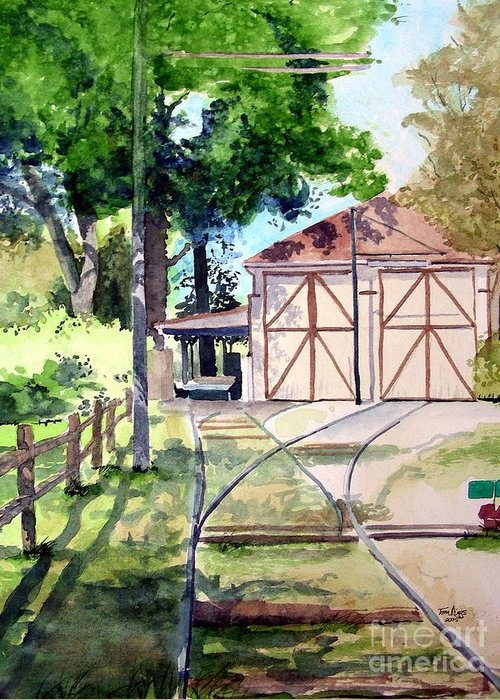 Trolley Greeting Card featuring the painting Birney Trolley Barn by Tom Riggs