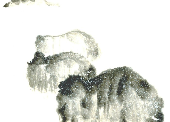 A Herd Of Bison Grazing In Snow. This Is A Contemporary Chinese Ink And Color On Rice Paper Painting With Simple Zen Style Brush Strokes.  Greeting Card featuring the painting Bison In Snow II by Mui-Joo Wee