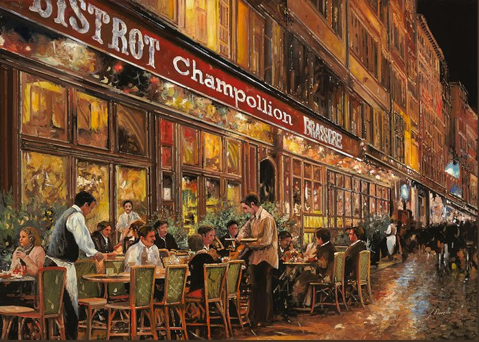 Street Scene Greeting Card featuring the painting Bistrot Champollion by Guido Borelli