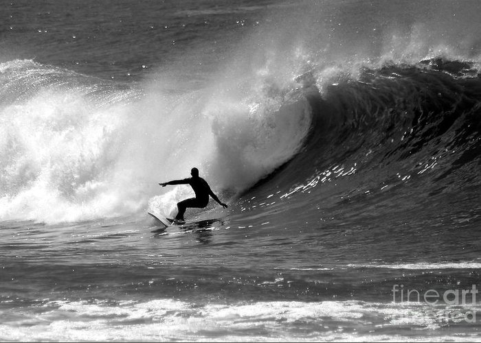 Black And White Greeting Card featuring the photograph Black And White Surfer by Paul Topp