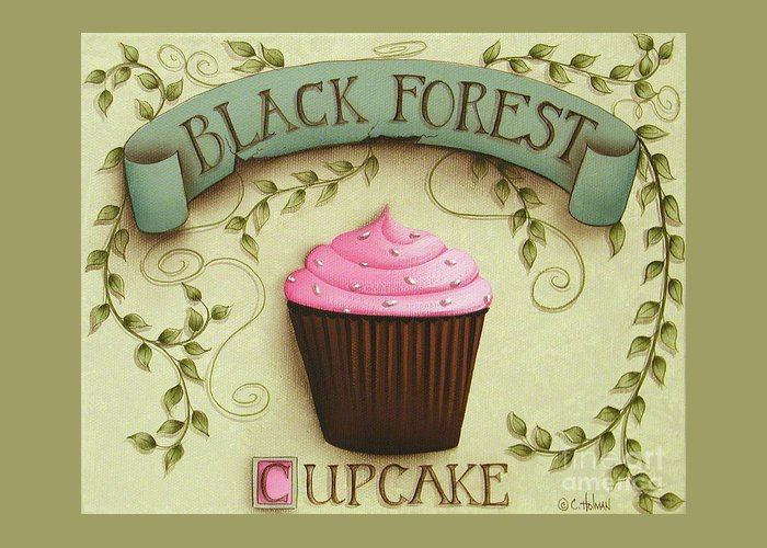 Art Greeting Card featuring the painting Black Forest Cupcake by Catherine Holman
