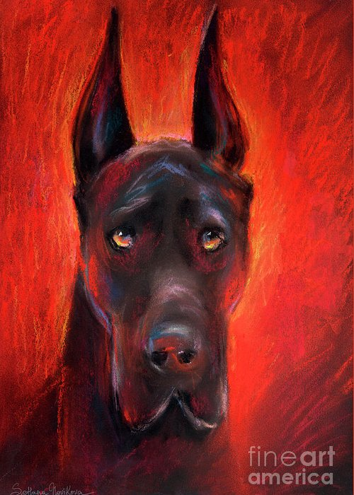 Black Great Dane Portrait Greeting Card featuring the painting Black Great Dane Dog Painting by Svetlana Novikova