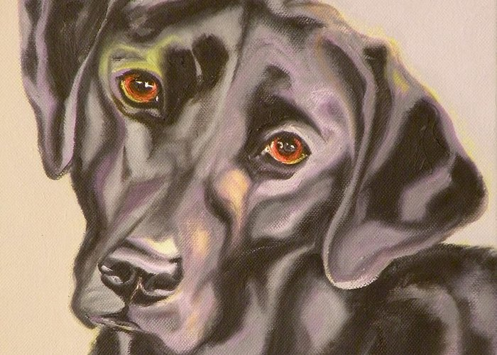 Giclee Greeting Card featuring the painting Black Lab Aint No Cure For Love by Susan A Becker