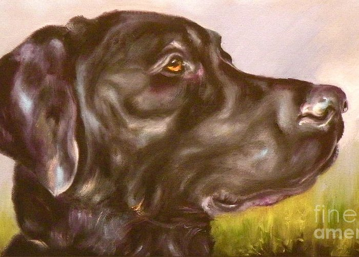Lab Greeting Card featuring the painting Black Lab In The Field by Susan A Becker
