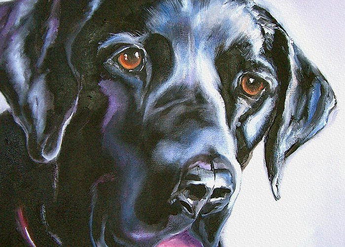Dogs Greeting Card featuring the painting Black Lab No Ordinary Love by Susan A Becker