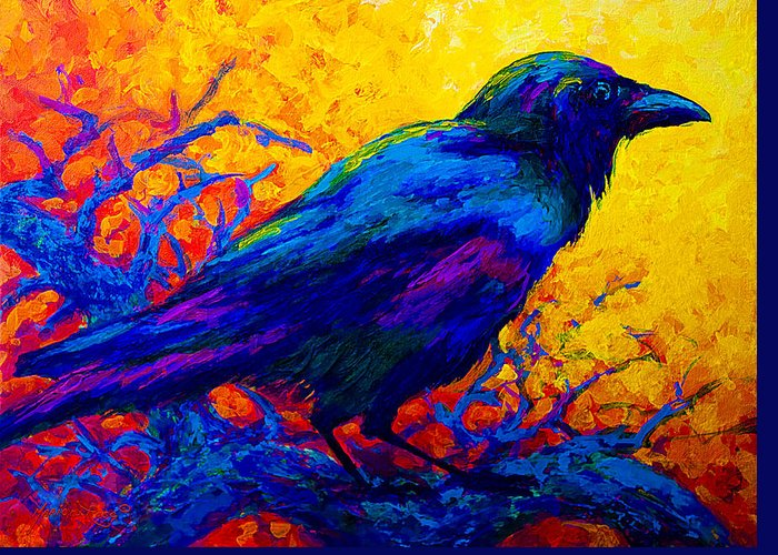 Crows Greeting Card featuring the painting Black Onyx - Raven by Marion Rose