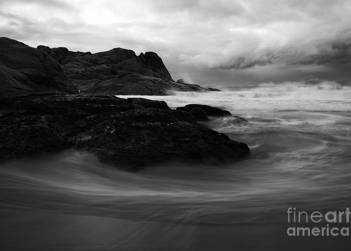 Beach Greeting Card featuring the photograph Black Rock Swirl by Mike Dawson