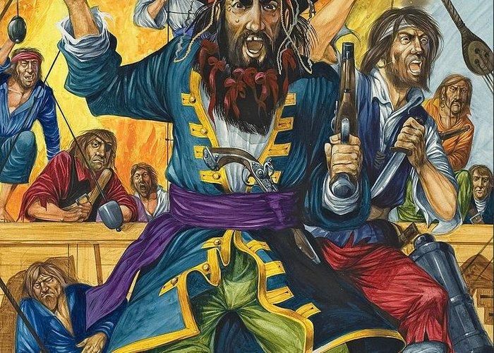 Pirate; Black Beard; Pirates; Captain; Sailors; Sailor; Sailing Ship; Traditional Costume; Fierce; Deck; Sword; Pistol; Gun Greeting Card featuring the painting Blackbeard by Richard Hook