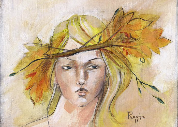 Autumn Leaves Greeting Card featuring the painting Blonde Autumn Forward by Jacque Hudson
