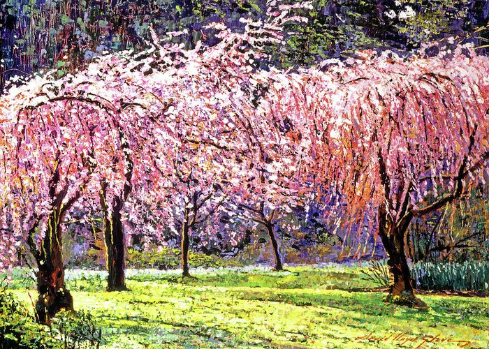 Cherry Blossoms Greeting Card featuring the painting Blossom Fantasy by David Lloyd Glover