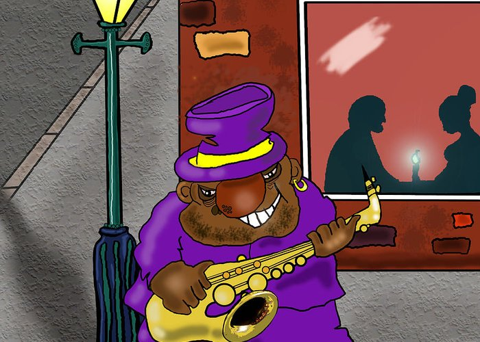 Musicians Greeting Card featuring the drawing Blowin' On Bourbon by Kev Moore