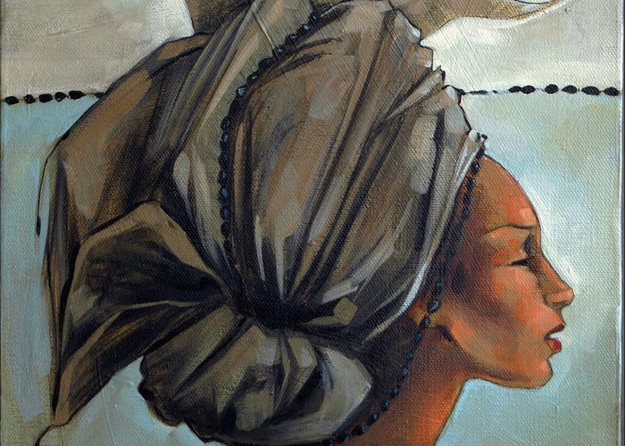 Hair Greeting Card featuring the painting Blue And Black Bead Headdress by Jacque Hudson
