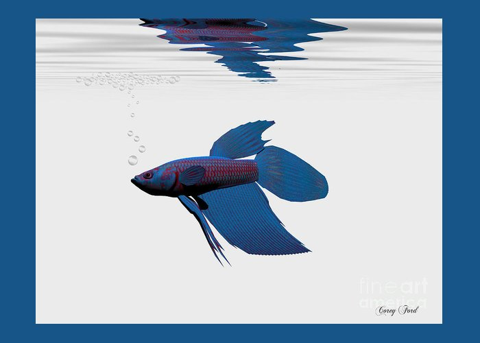 Blue Betta Greeting Card featuring the painting Blue Betta by Corey Ford